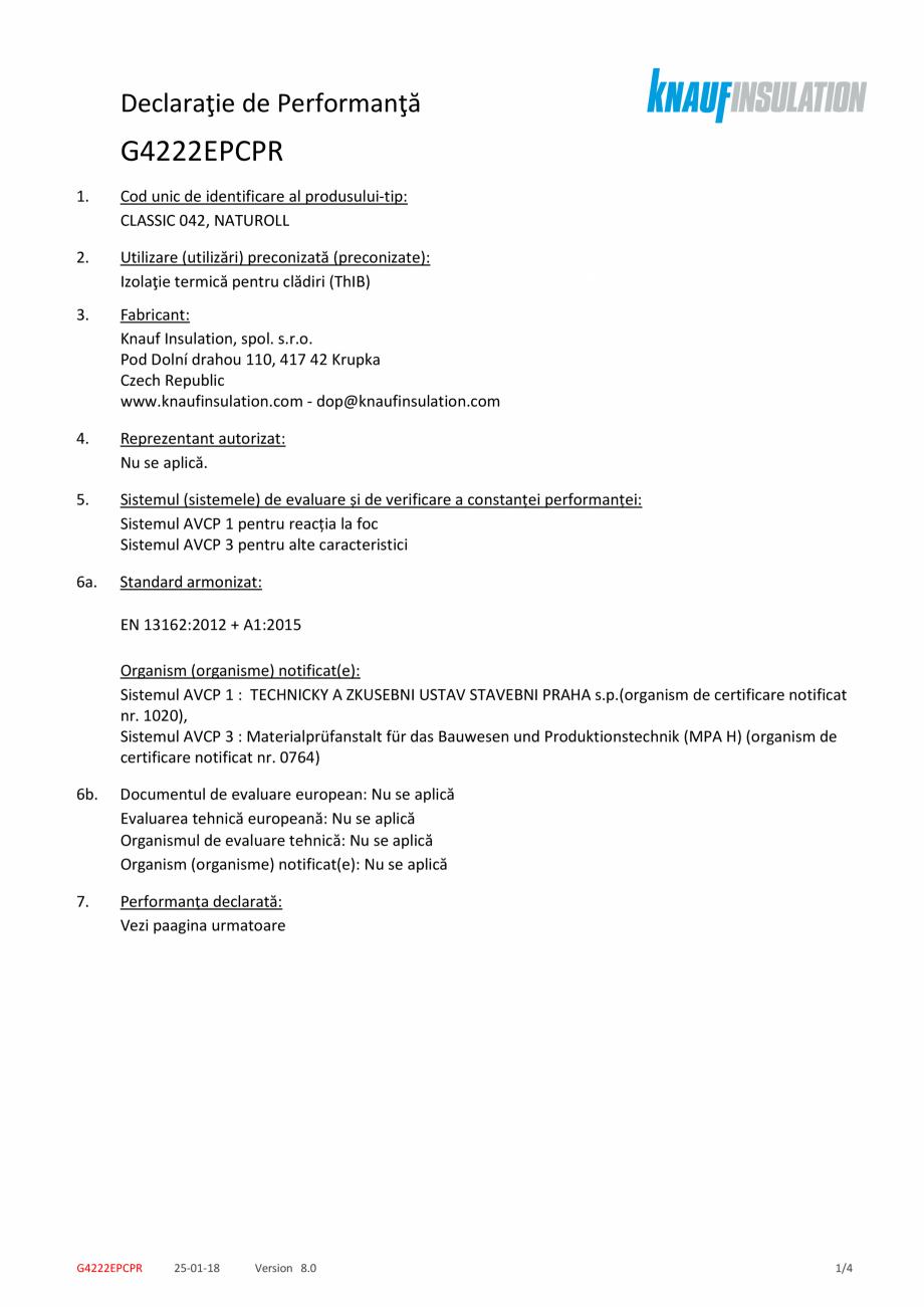Pagina 1 - Declaratie de performanta pentru vata minerala de sticla cu tehnologia ECOSE® KNAUF...