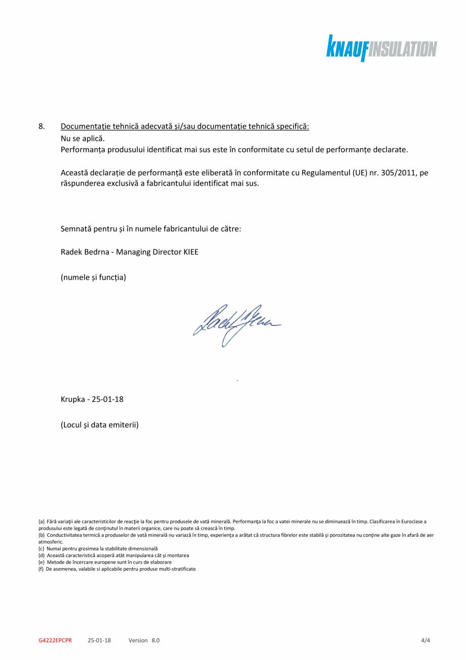Pagina 4 - Declaratie de performanta pentru vata minerala de sticla cu tehnologia ECOSE® KNAUF...