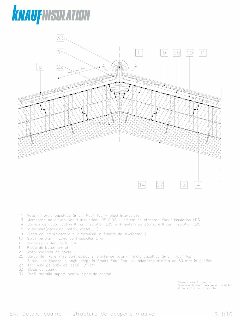 Pagina 1 - CAD-DWG Detalii CAD acoperisuri inclinate izolatie intre si peste capriori KNAUF...