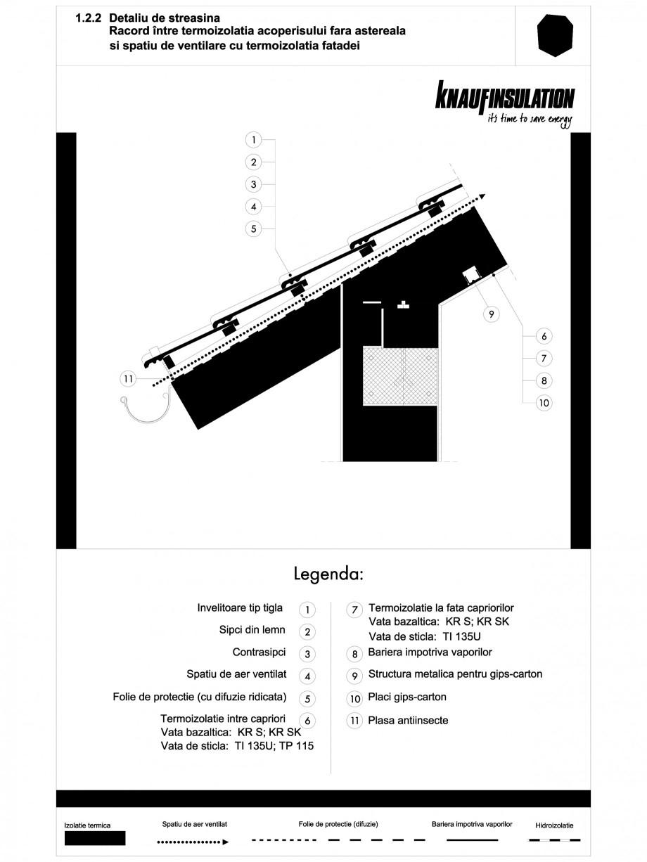 Pagina 1 - CAD-PDF Detaliu de streasina racord intre termoizolatia acoperisului fara astereala si...