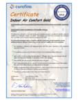 Certificat Eurofins pentru vata minerala bazaltica cu tehnologia Ecose KNAUF INSULATION - NaturBoard FIT NaturBoard FIT
