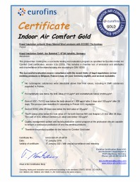 Certificare Eurofins pentru vata minerala de sticla cu tehnologie Ecose