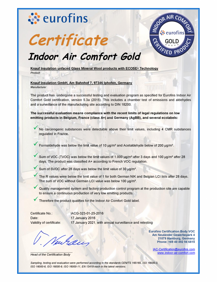 Pagina 1 - Certificare Eurofins pentru vata minerala de sticla cu tehnologie Ecose KNAUF INSULATION ...