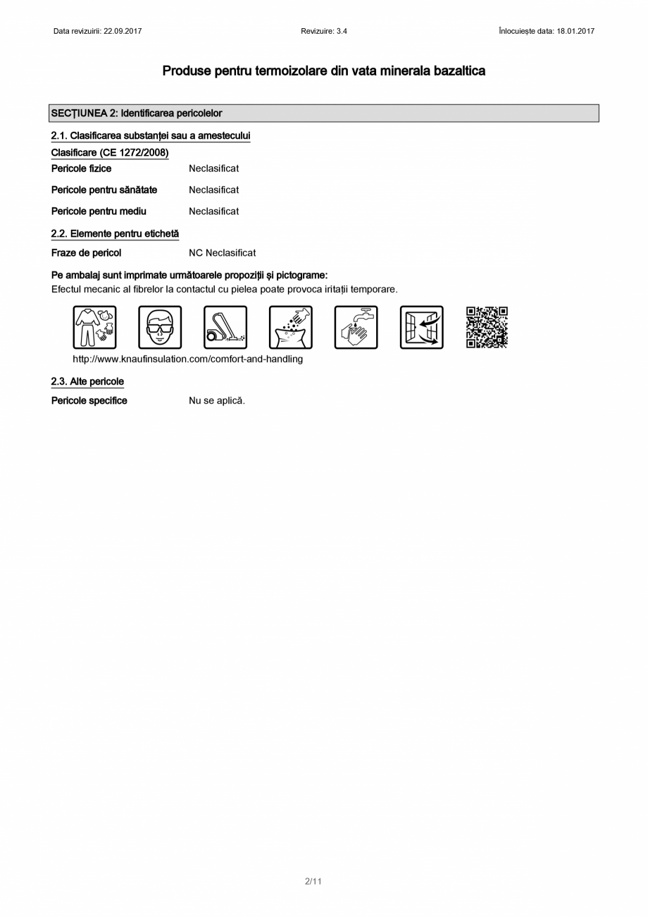 Pagina 2 - Certificare SDS - Fisa cu datele de securitate pentru vata minerala bazaltica KNAUF...