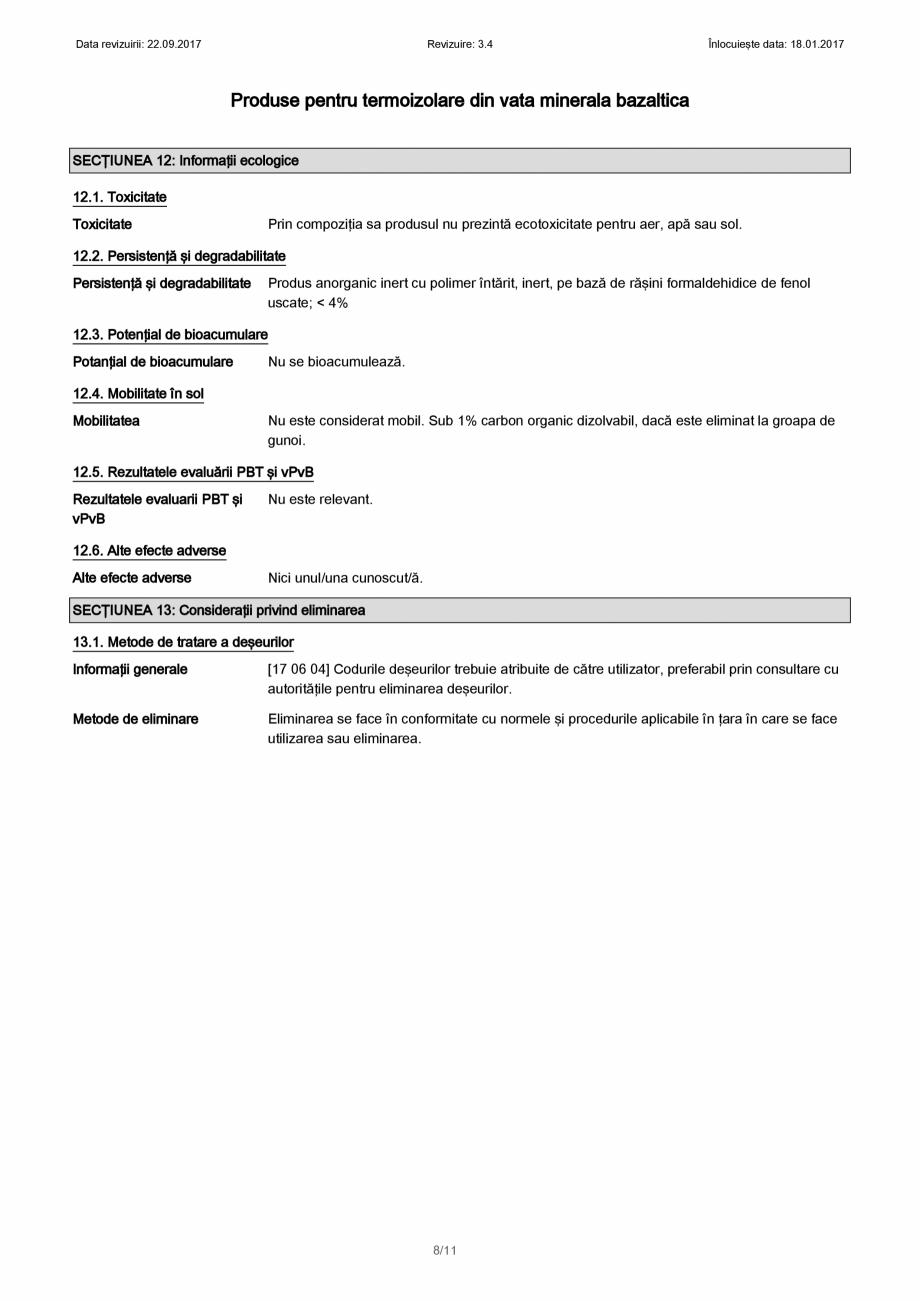 Pagina 8 - Certificare SDS - Fisa cu datele de securitate pentru vata minerala bazaltica KNAUF...