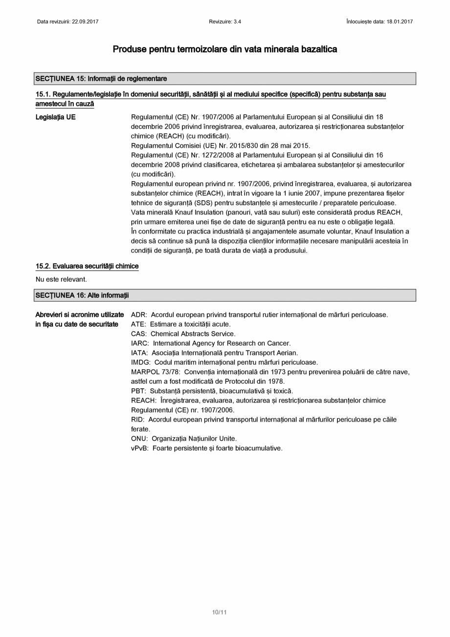 Pagina 10 - Certificare SDS - Fisa cu datele de securitate pentru vata minerala bazaltica KNAUF...