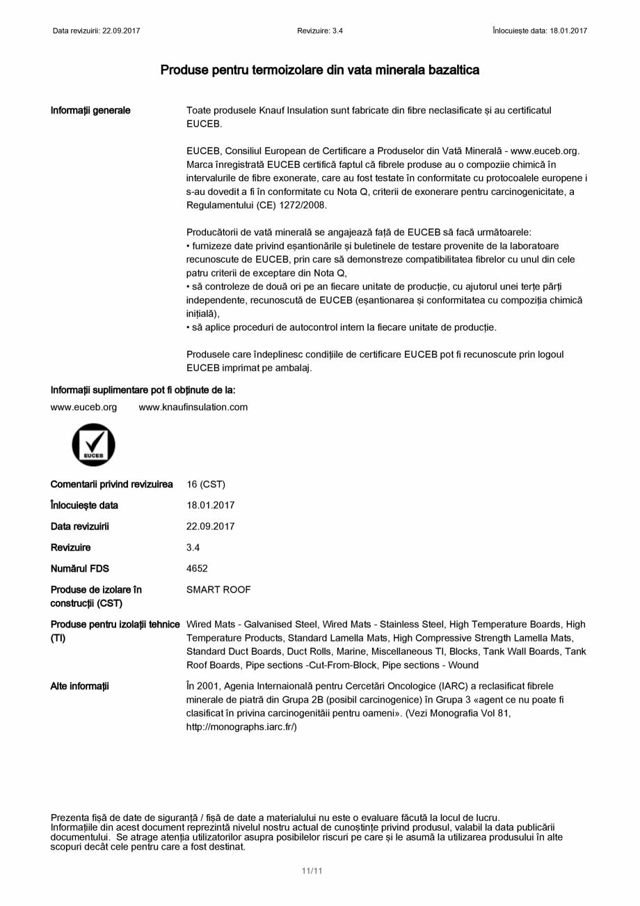 Pagina 11 - Certificare SDS - Fisa cu datele de securitate pentru vata minerala bazaltica KNAUF...