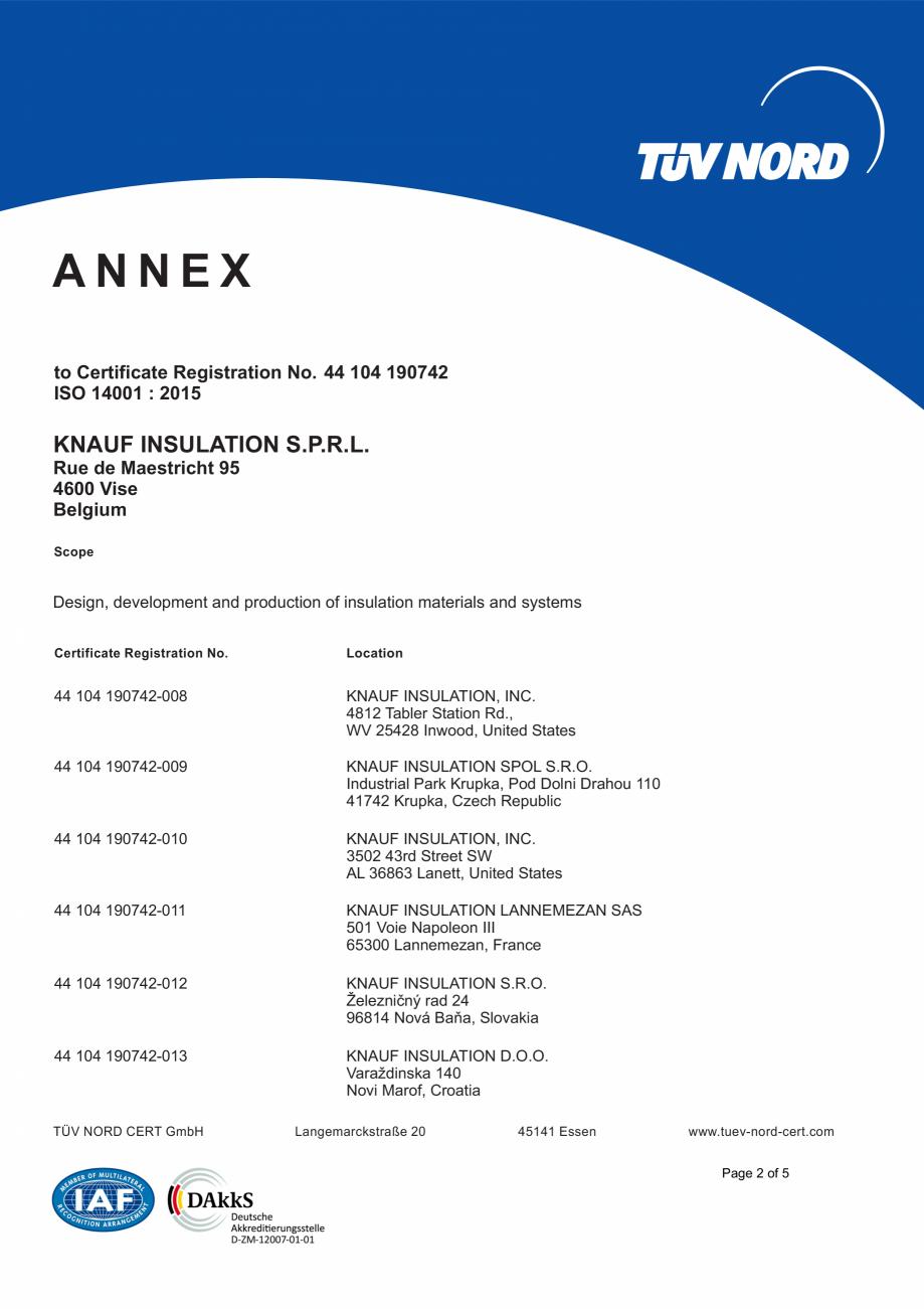 Pagina 3 - Certificat ISO 14001  KNAUF INSULATION Certificare produs Engleza . Rue de Maestricht 95 ...
