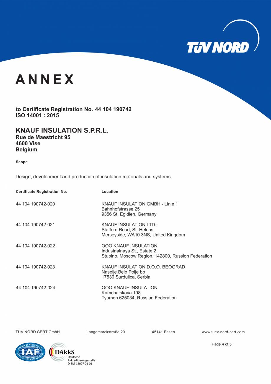 Pagina 5 - Certificat ISO 14001  KNAUF INSULATION Certificare produs Engleza .  Location  44 104...