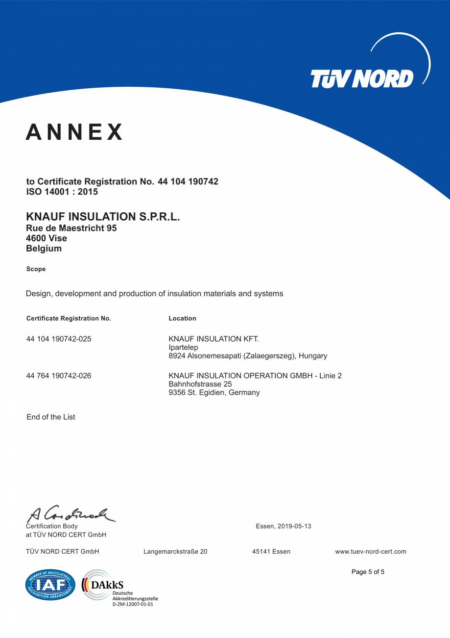 Pagina 6 - Certificat ISO 14001  KNAUF INSULATION Certificare produs Engleza ATION OPERATION GMBH - ...
