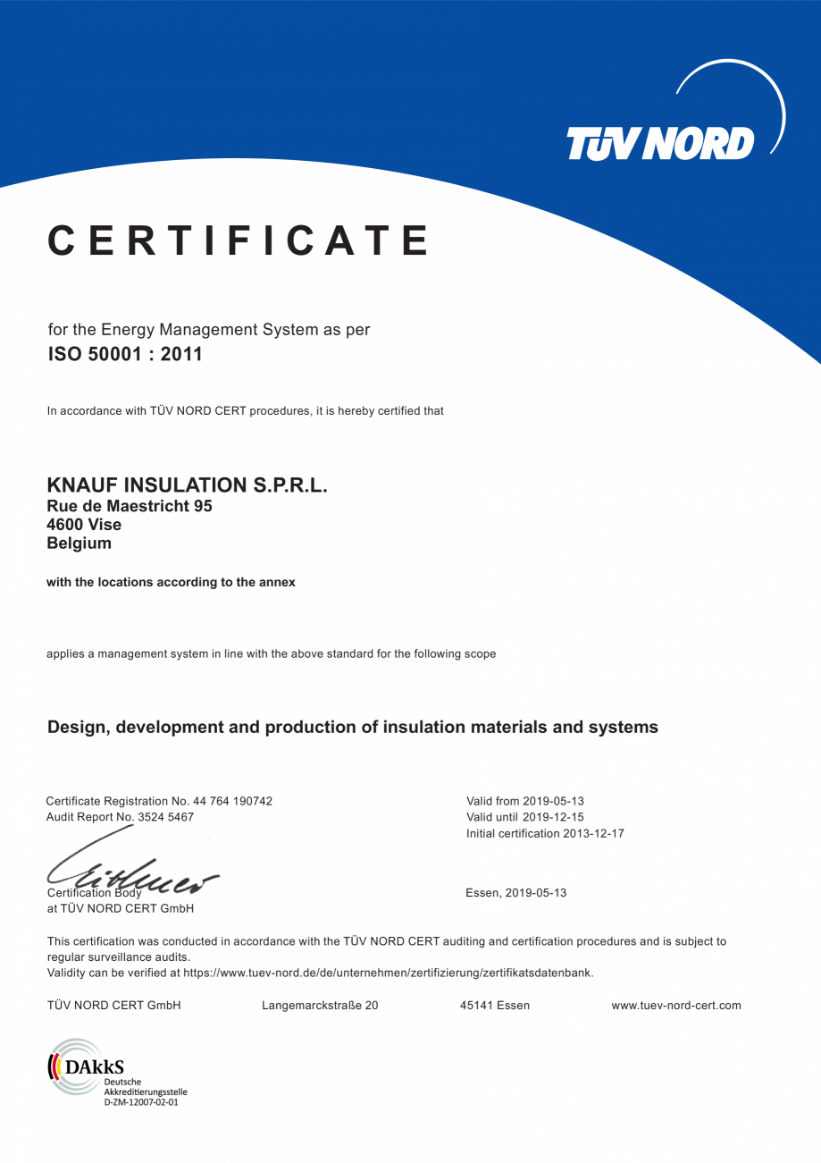 Pagina 1 - Certificat ISO 50001  KNAUF INSULATION Certificare produs Engleza CERTIFICATE for the...