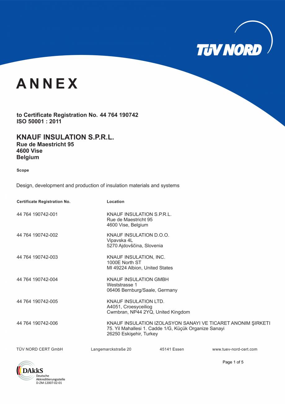 Pagina 2 - Certificat ISO 50001  KNAUF INSULATION Certificare produs Engleza  No. 44 764 190742 ISO ...