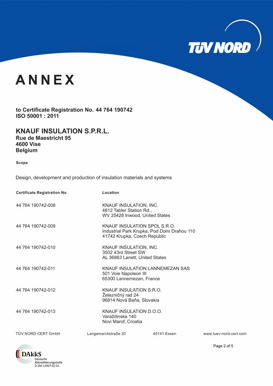 Pagina 3 - Certificat ISO 50001  KNAUF INSULATION Certificare produs Engleza ULATION S.P.R.L. Rue de...