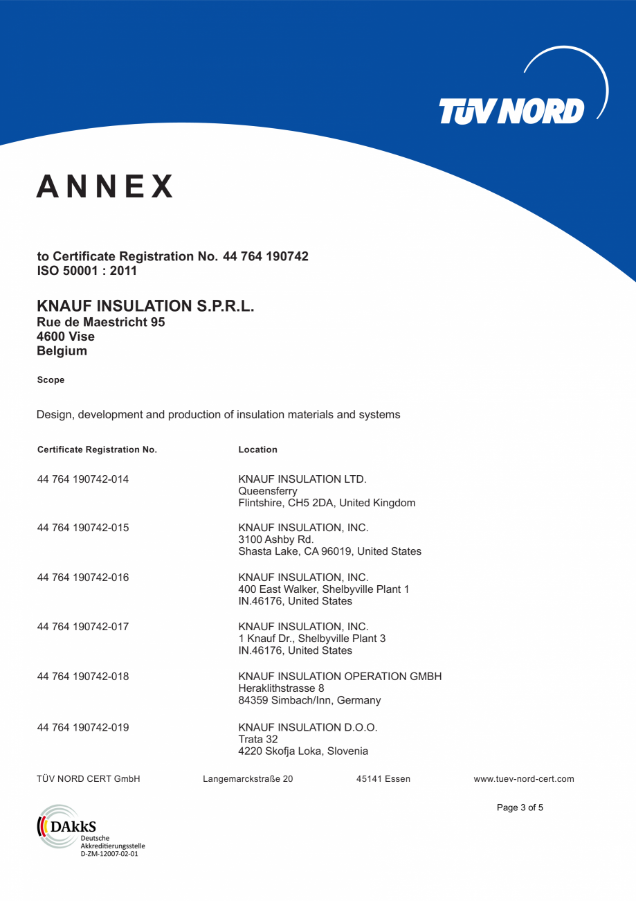 Pagina 4 - Certificat ISO 50001  KNAUF INSULATION Certificare produs Engleza  Design, development...