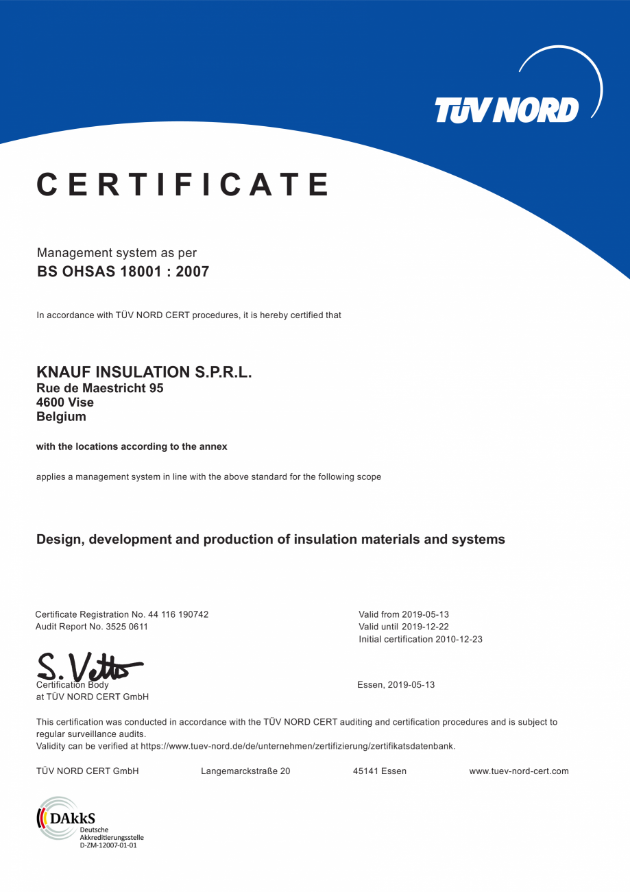 Pagina 1 - Certificat OHSAS 18001 KNAUF INSULATION Certificare produs Engleza CERTIFICATE Management...