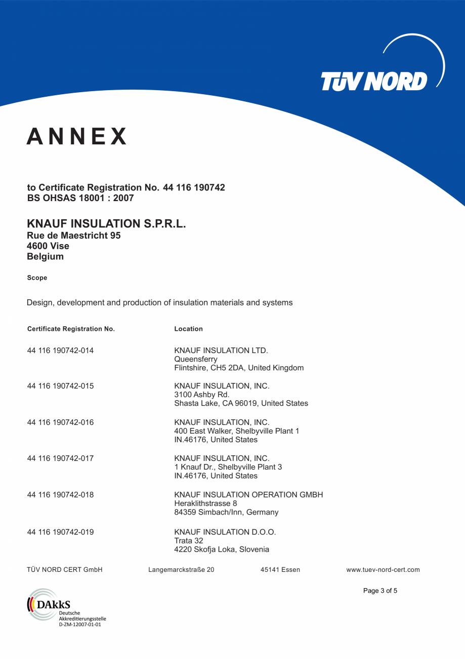 Pagina 4 - Certificat OHSAS 18001 KNAUF INSULATION Certificare produs Engleza gn, development and...
