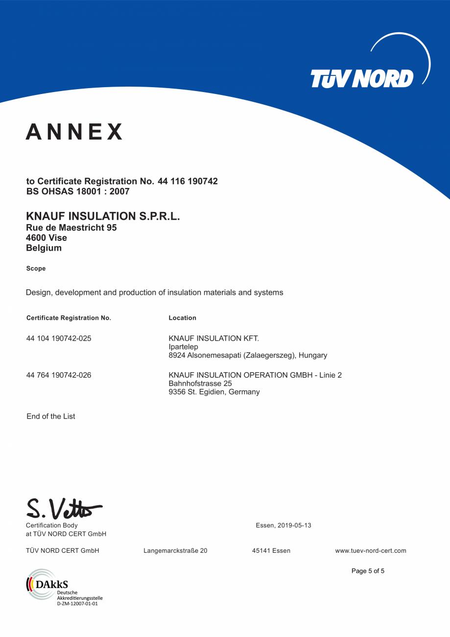 Pagina 6 - Certificat OHSAS 18001 KNAUF INSULATION Certificare produs Engleza 6  KNAUF INSULATION...