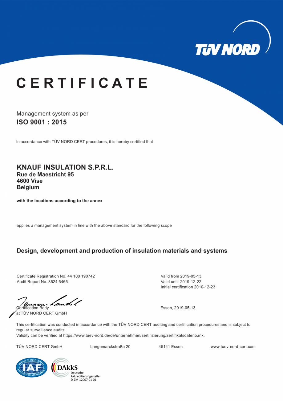 Pagina 1 - Certificat ISO 9001  KNAUF INSULATION Certificare produs Engleza CERTIFICATE Management...