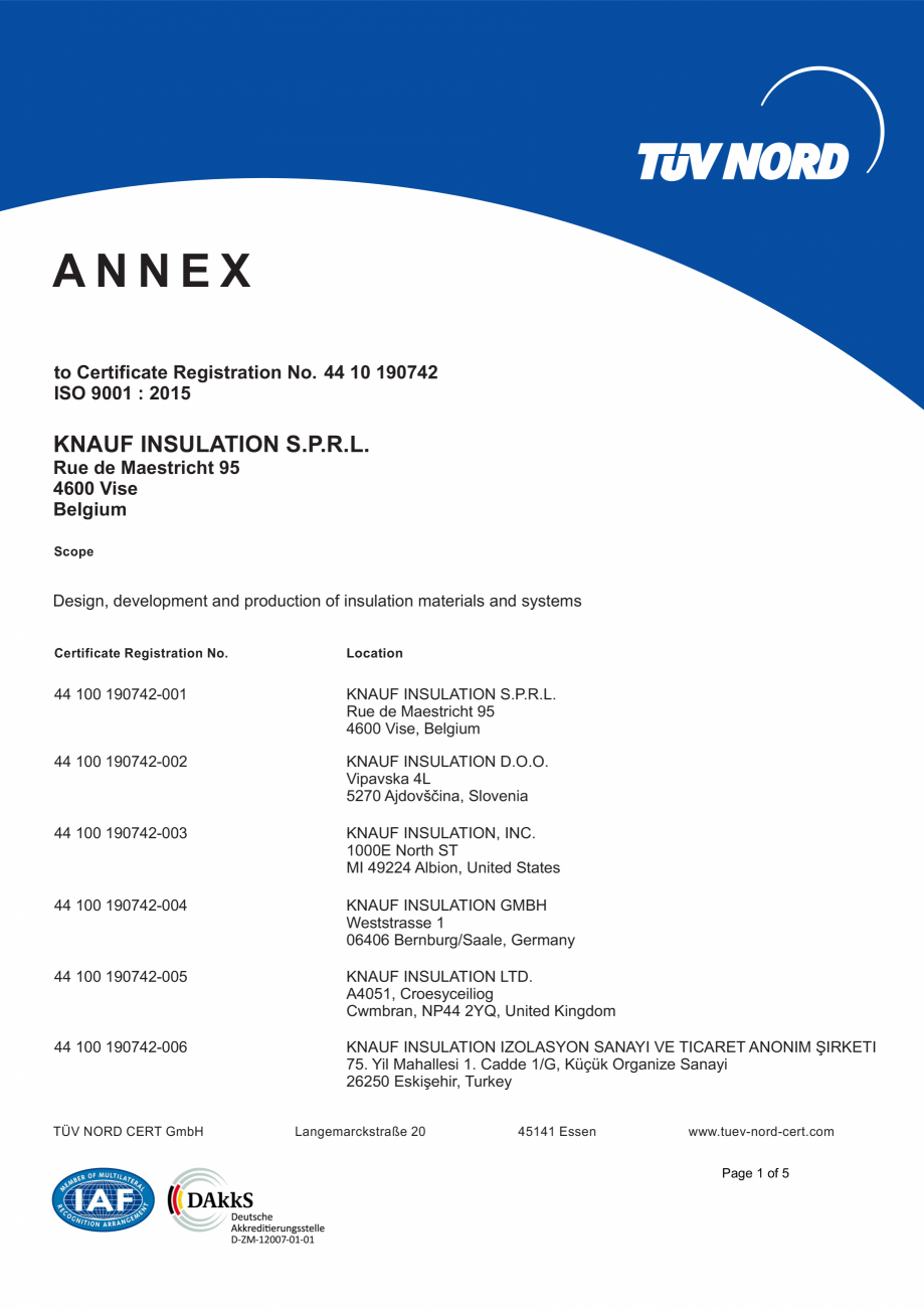 Pagina 2 - Certificat ISO 9001  KNAUF INSULATION Certificare produs Engleza 2 ISO 9001 : 2015  KNAUF...