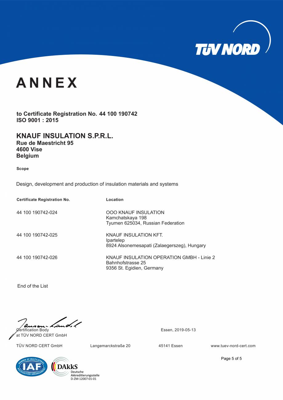 Pagina 6 - Certificat ISO 9001  KNAUF INSULATION Certificare produs Engleza 190742-025  KNAUF...