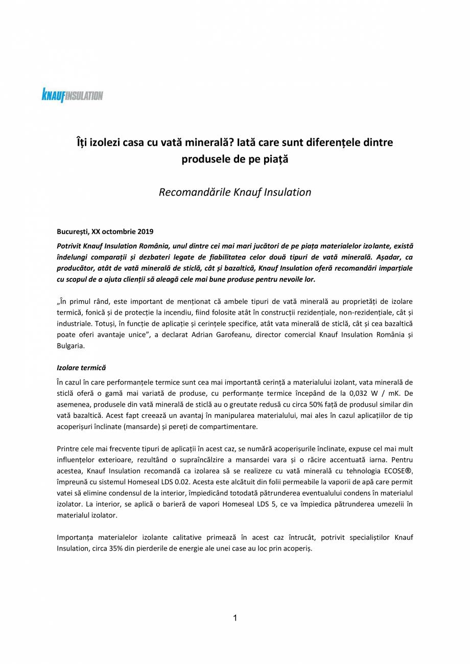 Pagina 1 - Knauf Insulation l Recomandari vata minerala KNAUF INSULATION Catalog, brosura Romana...