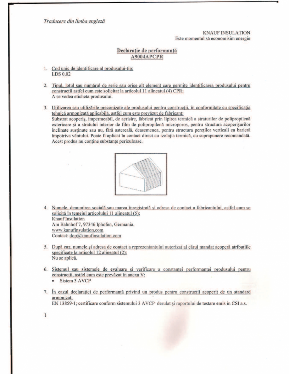 Pagina 1 - Declaratie de performanta pentru membrana hidroizolanta - permeabila la vapori  KNAUF...