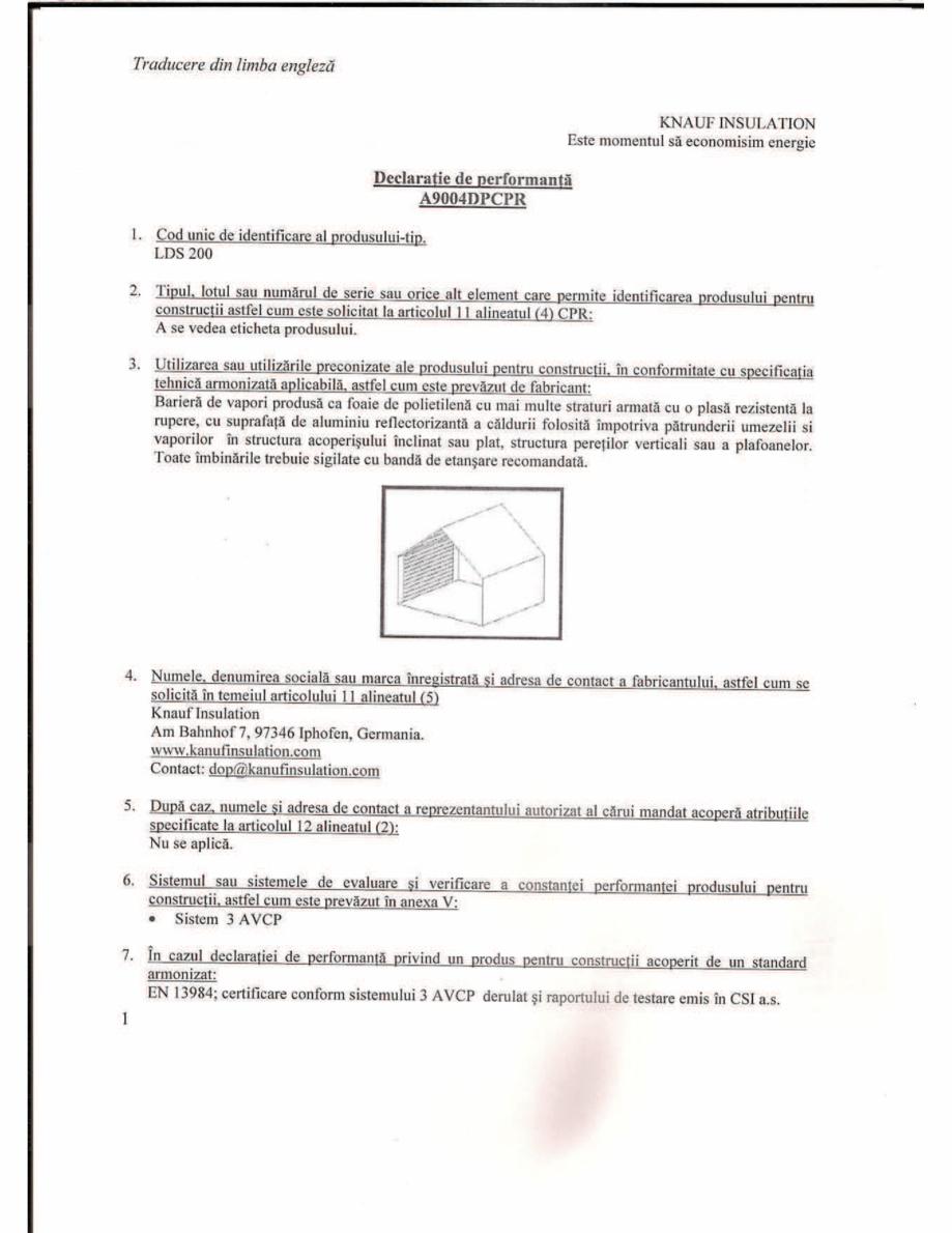 Pagina 1 - Declaratie de performanta pentru bariera de vapori la interior, cu strat de aluminiu...