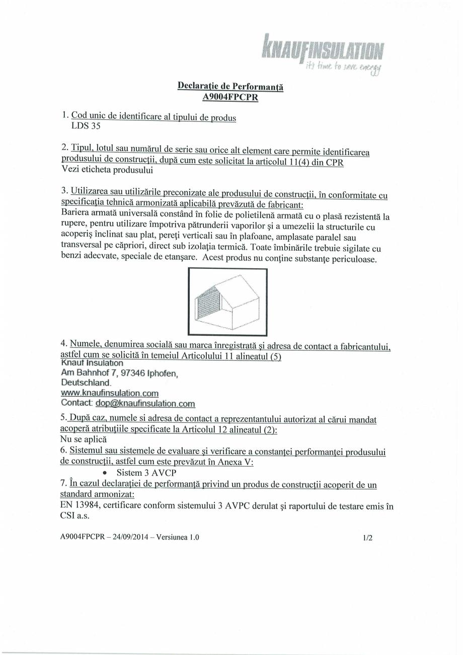Pagina 1 - Declaratie de performanta - bariera de vapori la interior, pentru controlul vaporilor ...