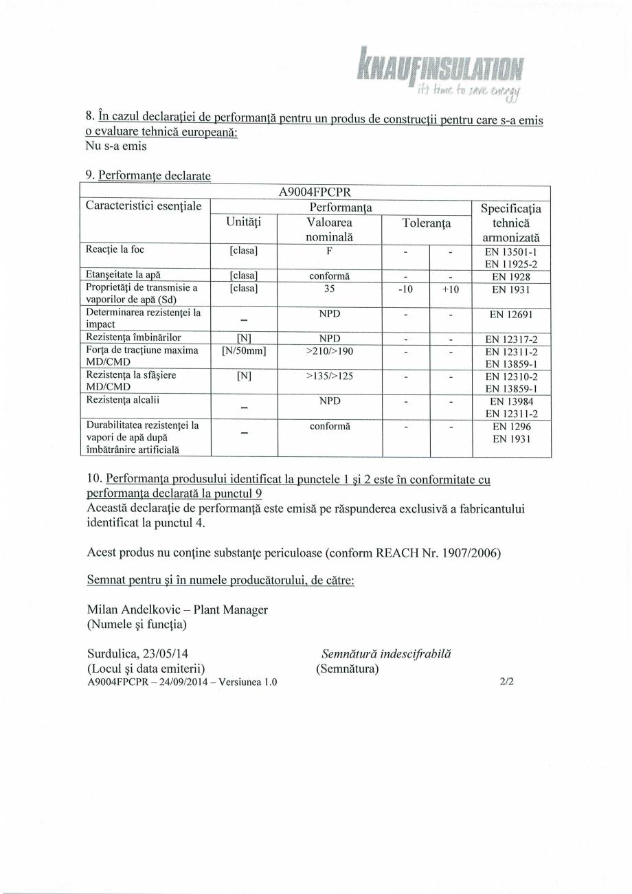 Pagina 2 - Declaratie de performanta - bariera de vapori la interior, pentru controlul vaporilor ...