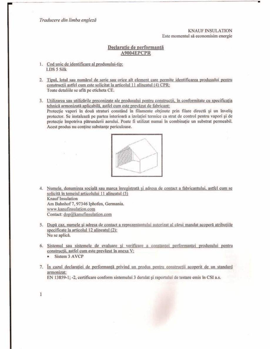 Pagina 1 - Declaratie de performanta -Bariera de vapori activa la interior, pentru eliminarea...