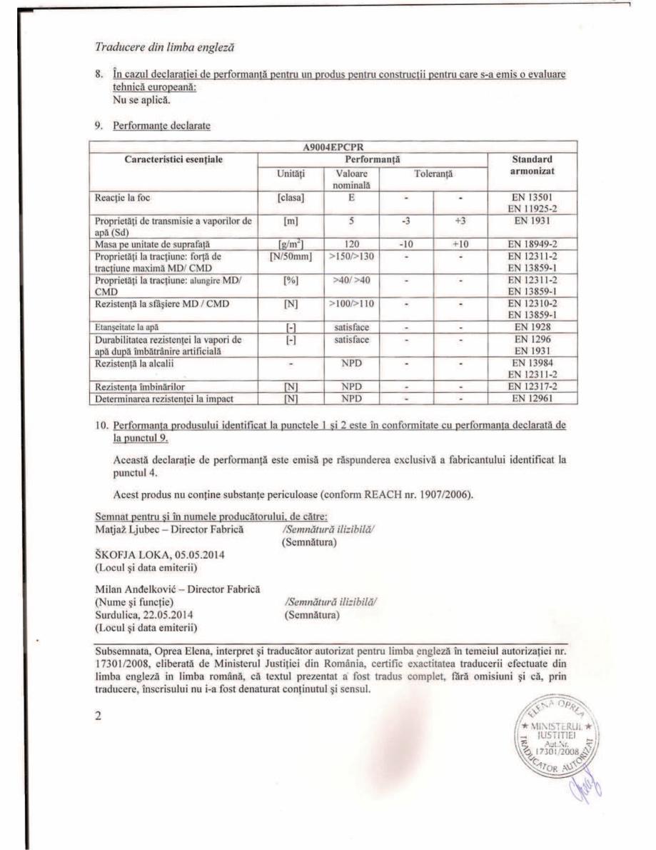 Pagina 2 - Declaratie de performanta -Bariera de vapori activa la interior, pentru eliminarea...