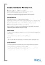 Instructiuni de curatare si intretinere pentru linoleum Marmoleum FORBO