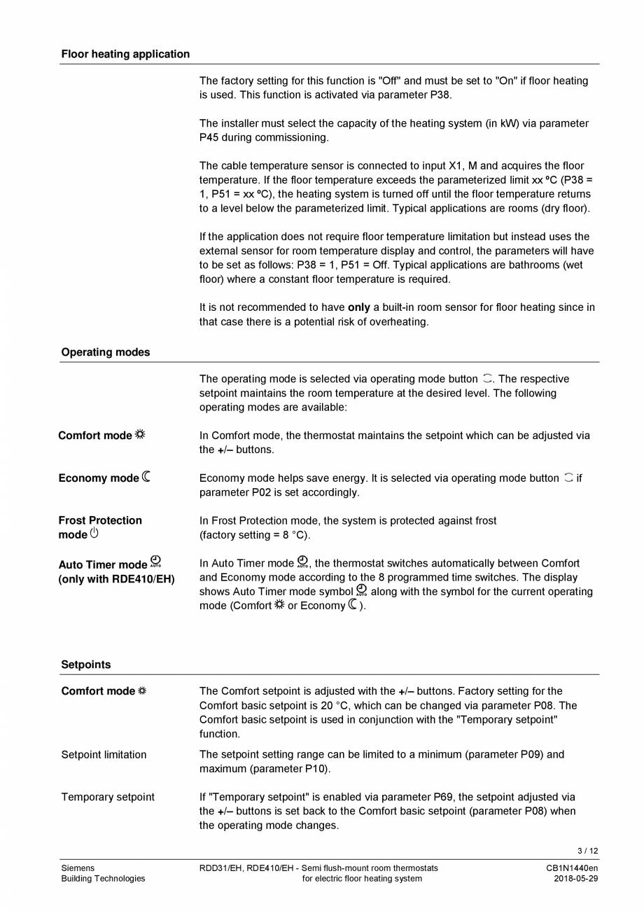 Pagina 3 - Termostat pentru incalzire electrica in pardoseala  SIEMENS RDD310/EH Fisa tehnica...