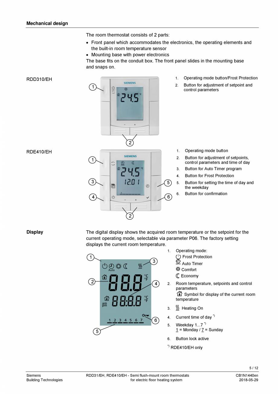 Pagina 5 - Termostat pentru incalzire electrica in pardoseala  SIEMENS RDD310/EH Fisa tehnica...