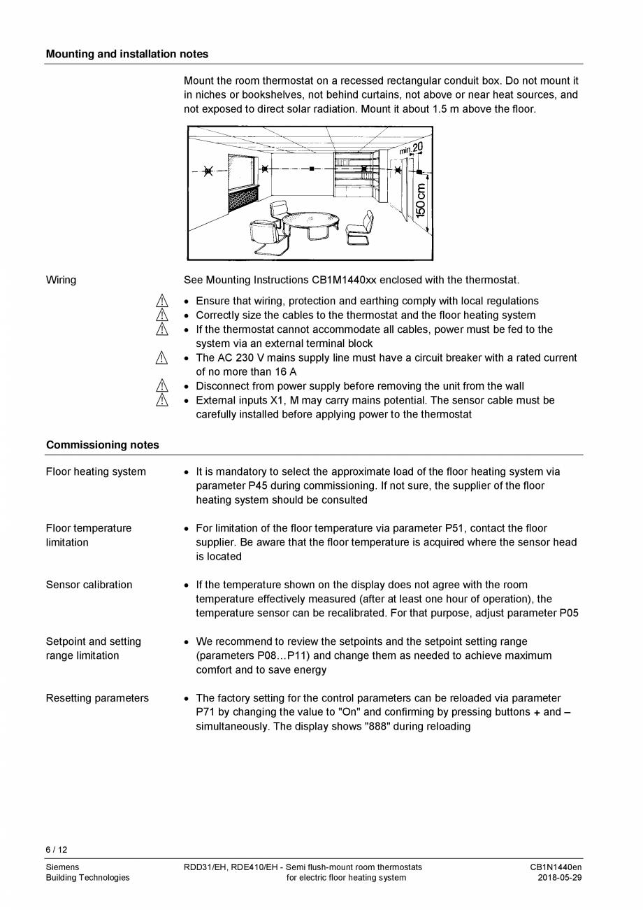 Pagina 6 - Termostat pentru incalzire electrica in pardoseala  SIEMENS RDD310/EH Fisa tehnica...