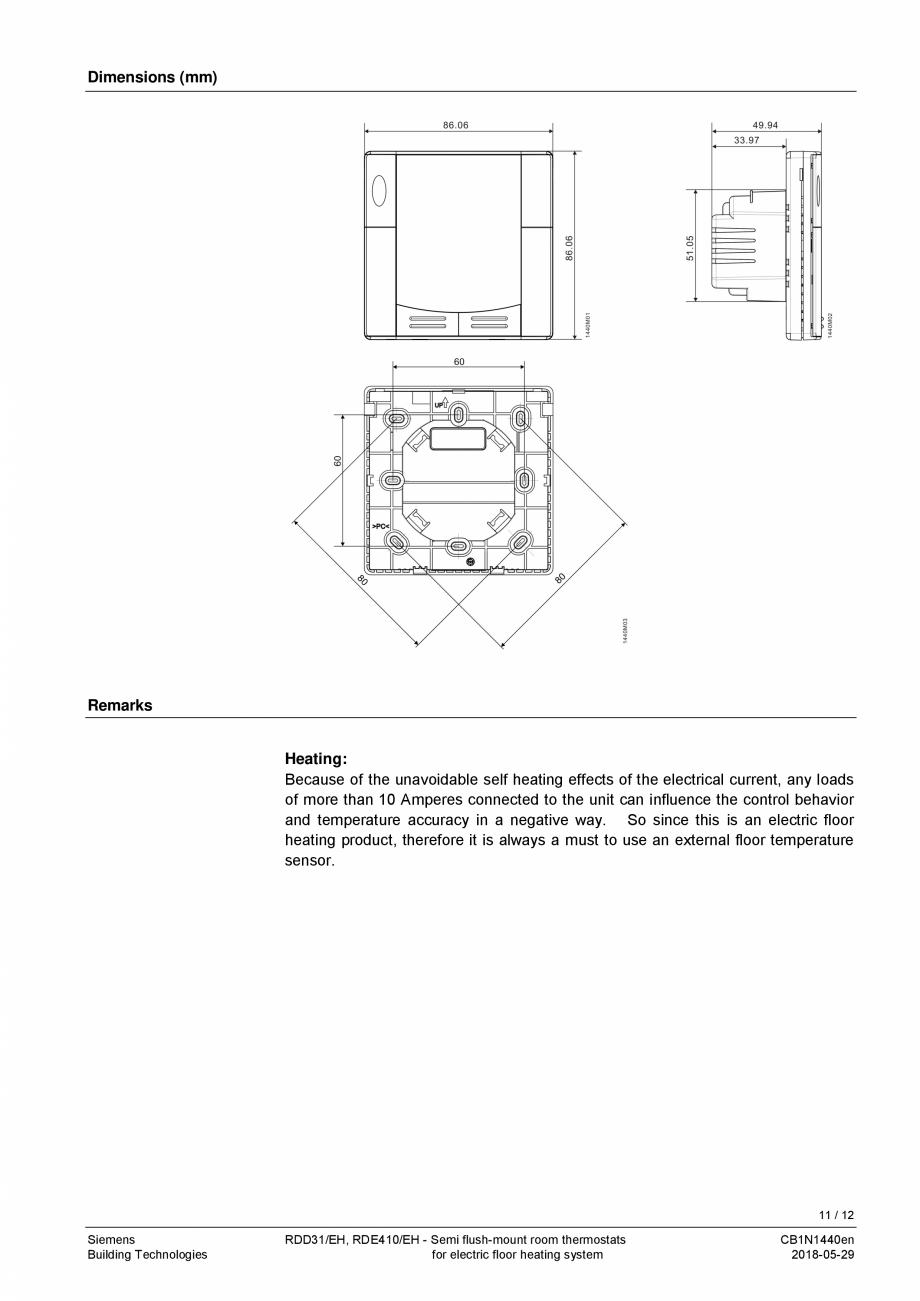 Pagina 11 - Termostat pentru incalzire electrica in pardoseala  SIEMENS RDD310/EH Fisa tehnica...