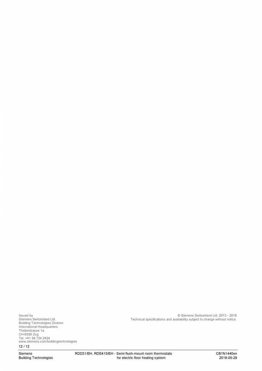 Pagina 12 - Termostat pentru incalzire electrica in pardoseala  SIEMENS RDD310/EH Fisa tehnica...