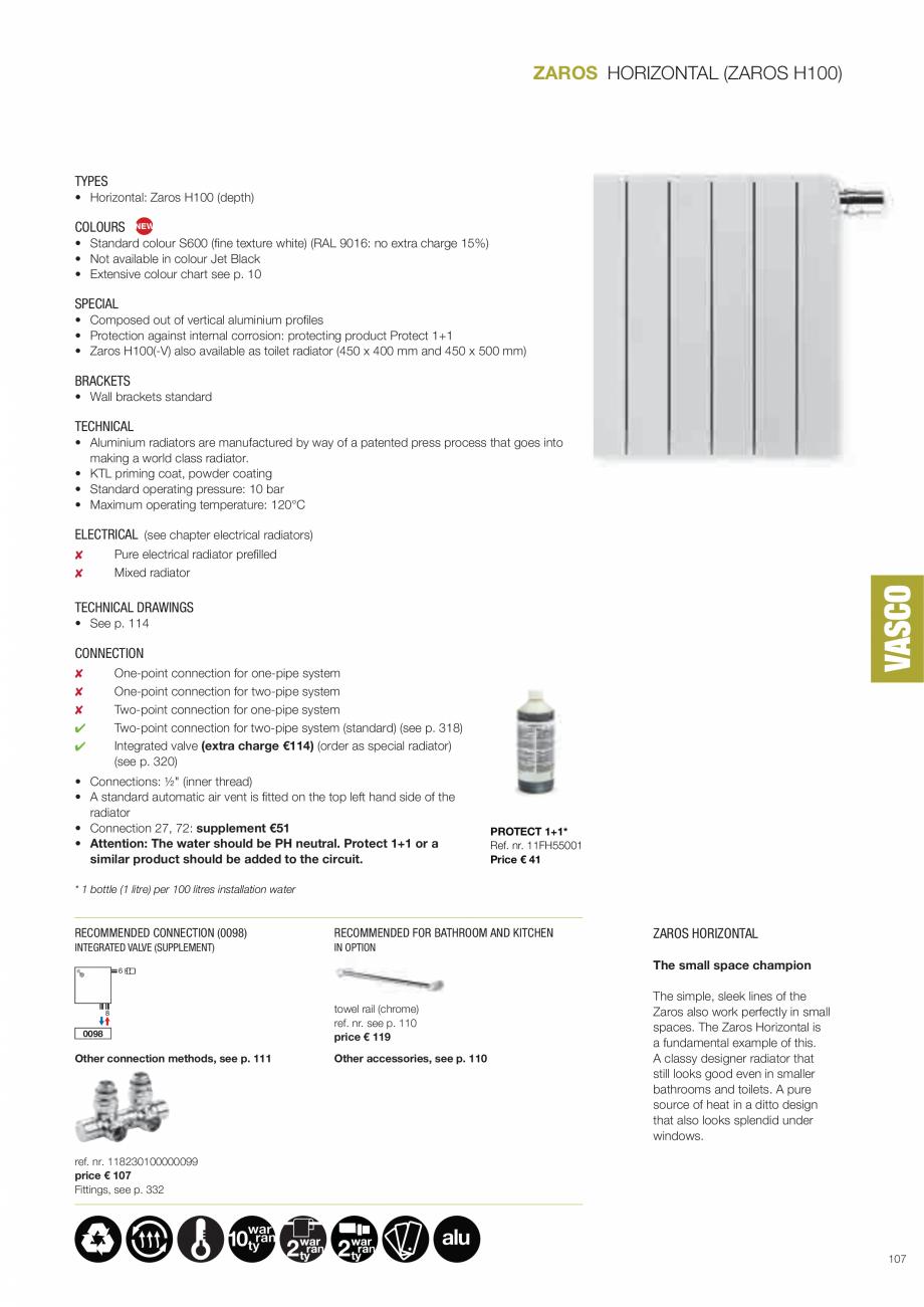 Pagina 3 - ZAROS VASCO ZAROS H100, ZAROS V75/ V100 Fisa tehnica Engleza  € 158 Fittings, see p....