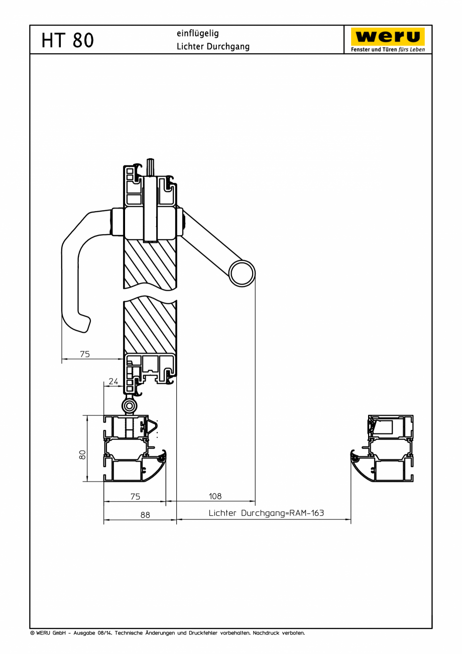 Pagina 1 - CAD-PDF Usi de exterior din aluminiu HT 80 WERU Detaliu de montaj