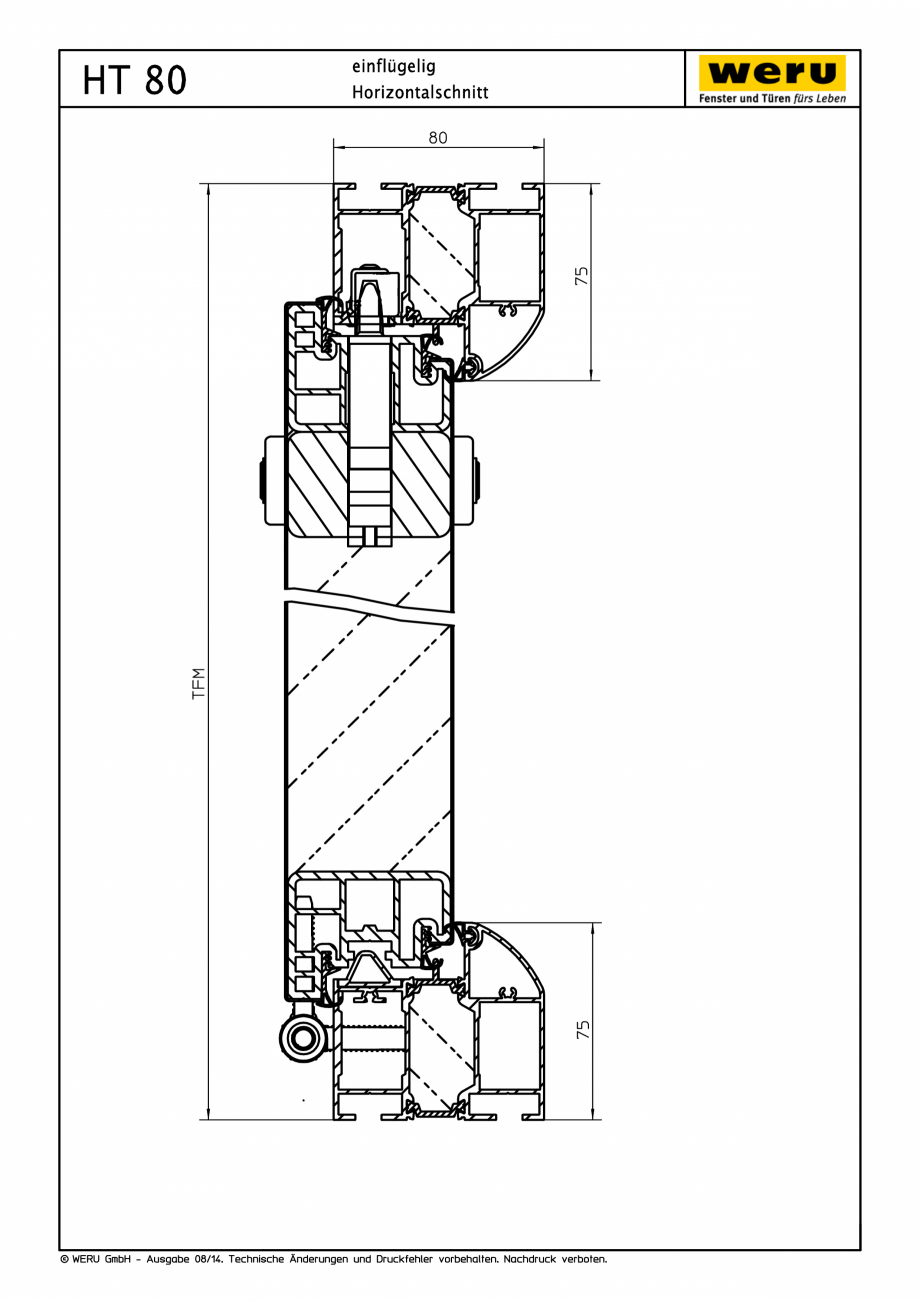 Pagina 1 - CAD-PDF Usi de exterior din aluminiu HT 80 - Sectiune orizontala WERU Detaliu de montaj