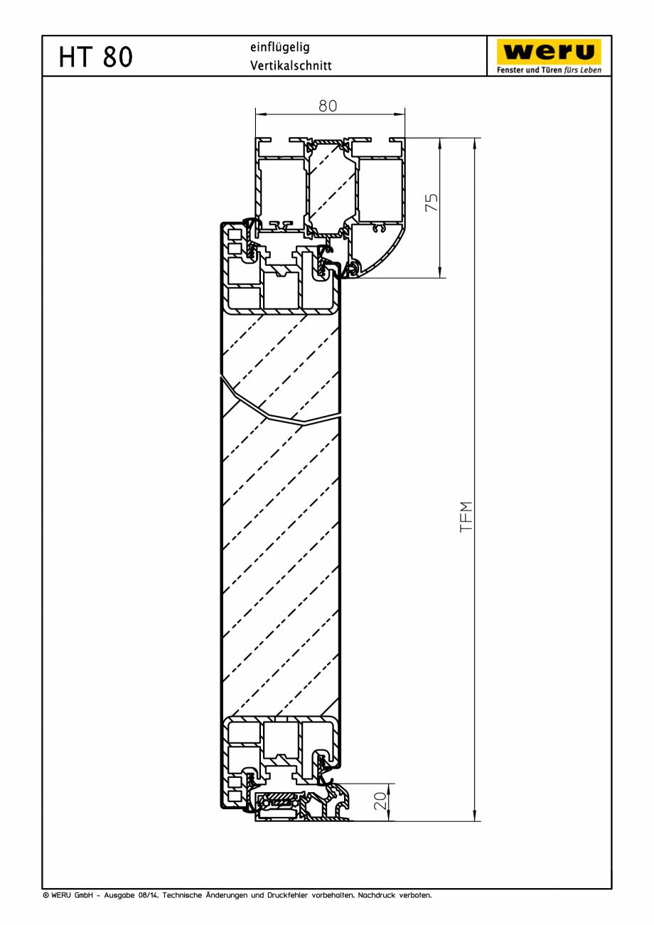 Pagina 1 - CAD-PDF Usi de exterior din aluminiu HT 80 - Sectiune verticala WERU Detaliu de montaj