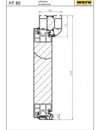 Usi de exterior din aluminiu HT 80 - Sectiune verticala