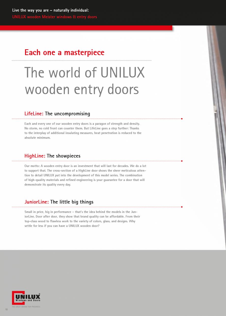 Pagina 18 - Ferestre din lemn stratificat UNILUX Catalog, brosura Engleza  minimum.  HighLine: The...