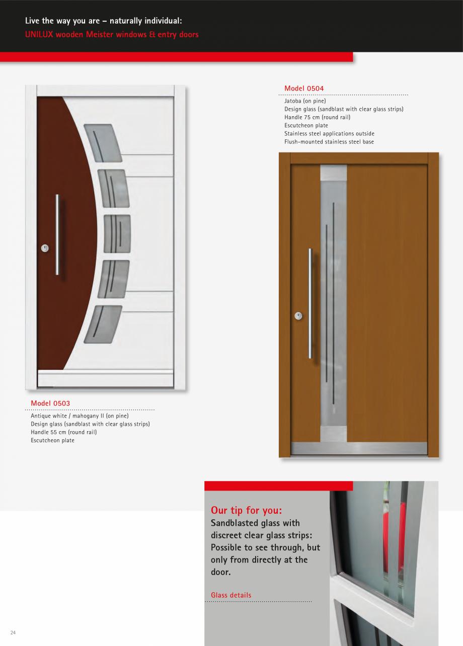 Pagina 23 - Ferestre din lemn stratificat UNILUX Catalog, brosura Engleza  cast there Door leaf of...