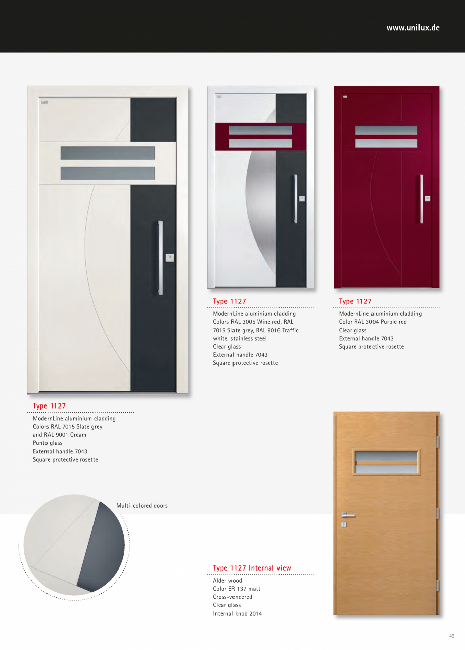 Catalog, brosura Usi de exterior UNILUX Usi de exterior din lemn-aluminiu UNILUX CONSTRUCT  - Pagina 49