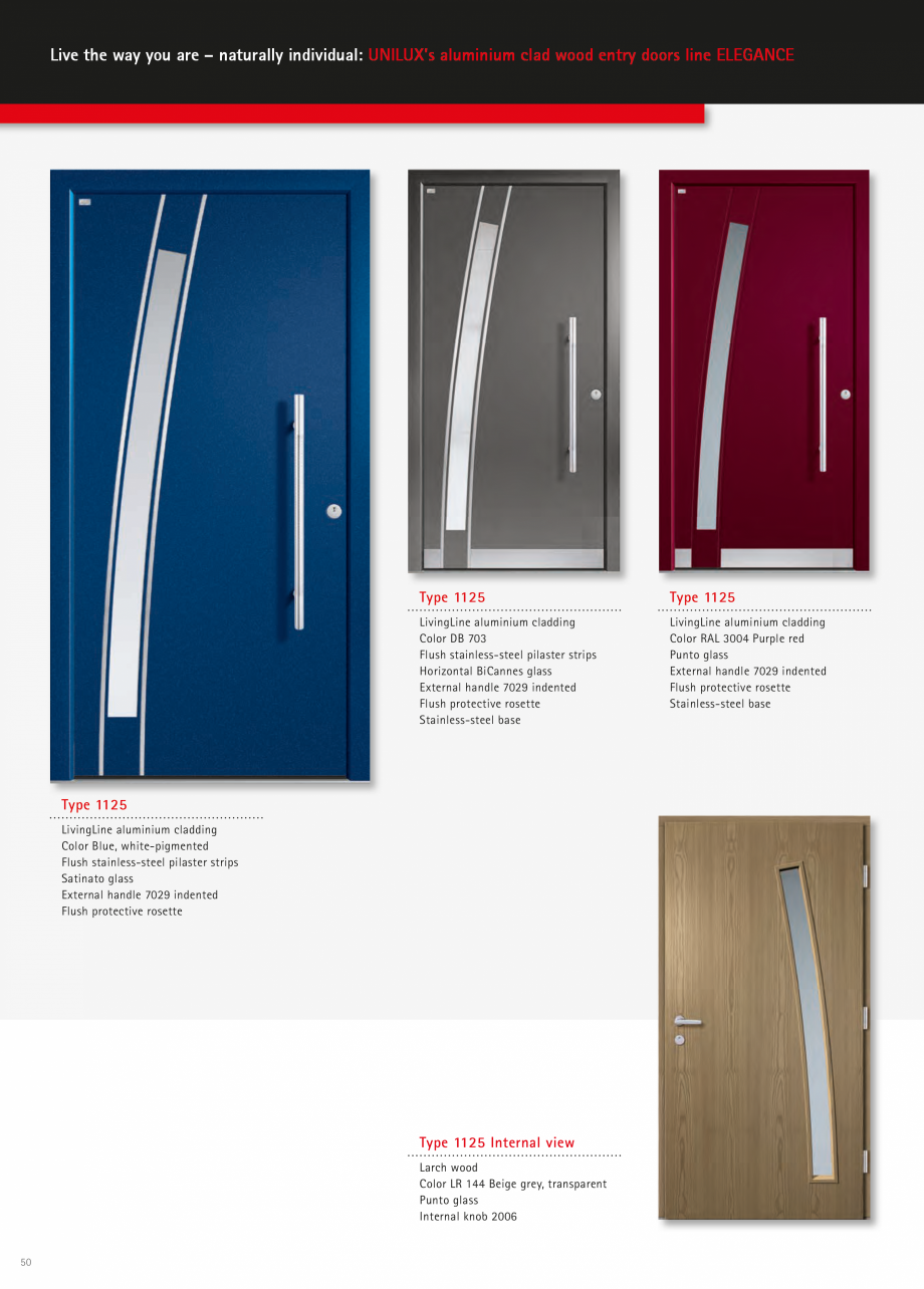 Catalog, brosura Usi de exterior UNILUX Usi de exterior din lemn-aluminiu UNILUX CONSTRUCT  - Pagina 50