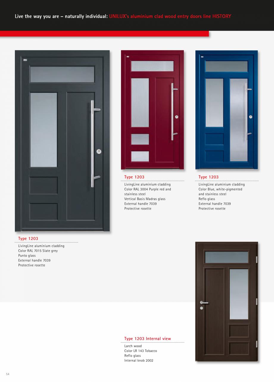 Catalog, brosura Usi de exterior UNILUX Usi de exterior din lemn-aluminiu UNILUX CONSTRUCT  - Pagina 54