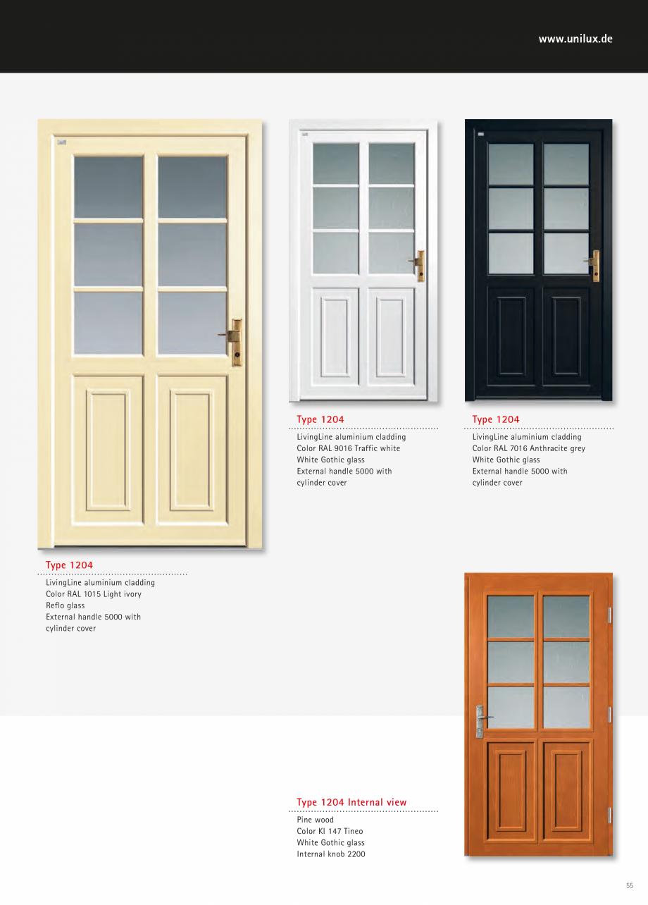 Catalog, brosura Usi de exterior UNILUX Usi de exterior din lemn-aluminiu UNILUX CONSTRUCT  - Pagina 55