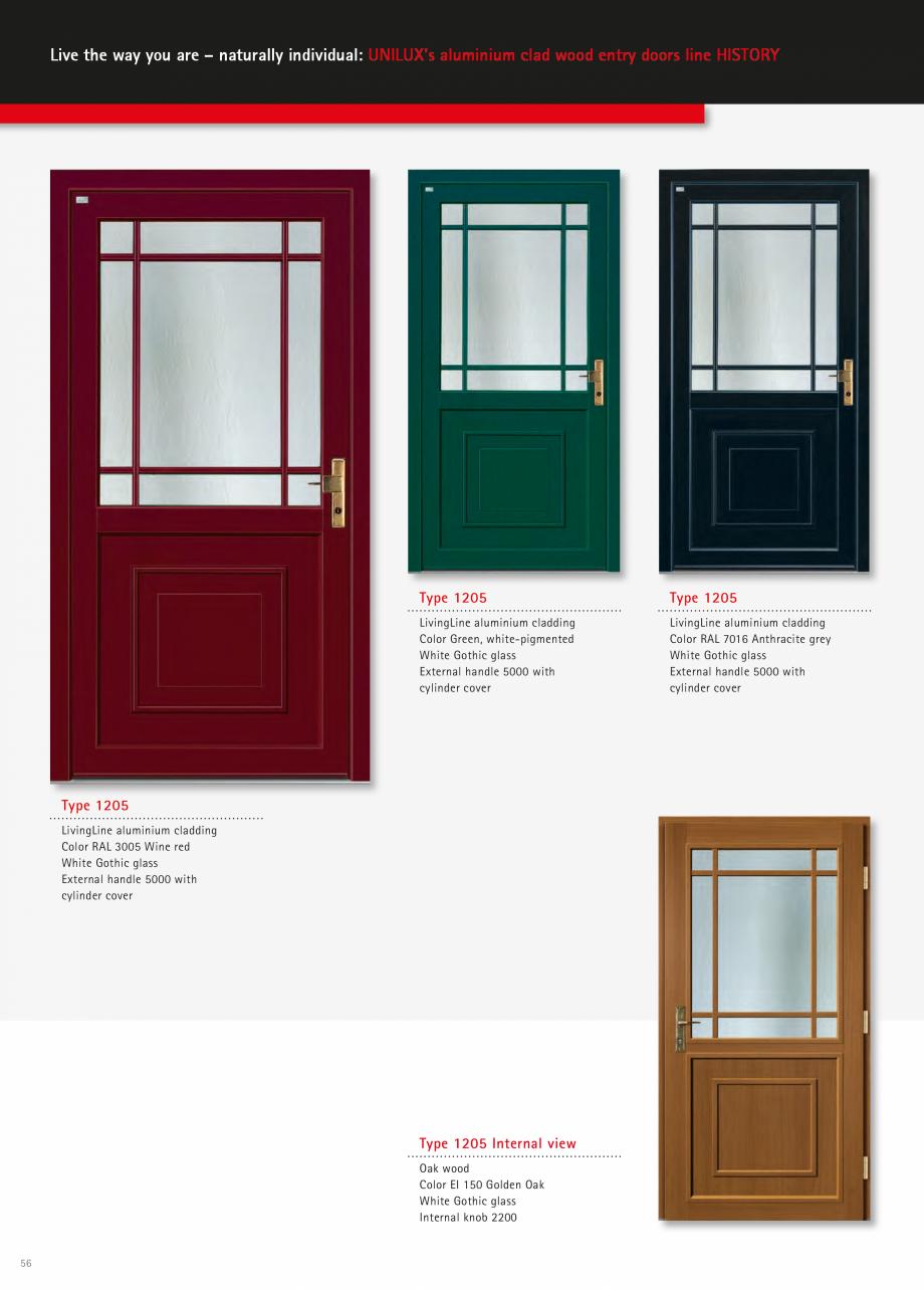 Catalog, brosura Usi de exterior UNILUX Usi de exterior din lemn-aluminiu UNILUX CONSTRUCT  - Pagina 56