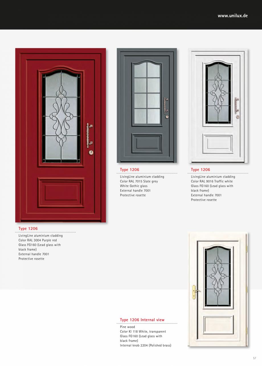 Catalog, brosura Usi de exterior UNILUX Usi de exterior din lemn-aluminiu UNILUX CONSTRUCT  - Pagina 57